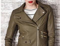 Army Green Lapel Zipper Detail Slim Biker Jacket Choies.com sklep internetowy z odzieżą i modą z Wielkiej Brytanii