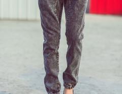 Black Drawstring Waist Wash Tapered Jeans Choies.com sklep internetowy z odzieżą i modą z Wielkiej Brytanii