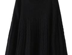 Black Long Sleeve Cable Knitted Cloak Cape Choies.com sklep internetowy z odzieżą i modą z Wielkiej Brytanii