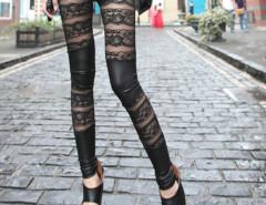 Black PU Panel Lace Legging Choies.com sklep internetowy z odzieżą i modą z Wielkiej Brytanii