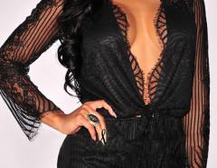 Black Plunge Sheer Lace Long Sleeve Tie Front Romper Playsuit Choies.com sklep internetowy z odzieżą i modą z Wielkiej Brytanii