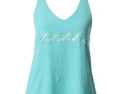 Cyan Lace Detail Double Strap Backless Vest Choies.com sklep internetowy z odzieżą i modą z Wielkiej Brytanii