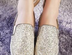 Gold Sequined Rivet Rabbit Ear Decorated Loafers Choies.com sklep internetowy z odzieżą i modą z Wielkiej Brytanii