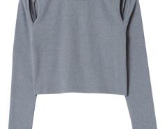 Gray Round Neck Cut Out Long Sleeve T-shirt Choies.com sklep internetowy z odzieżą i modą z Wielkiej Brytanii