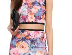 Multicolor Floral Round Neck Tight Crop Top Choies.com sklep internetowy z odzieżą i modą z Wielkiej Brytanii