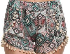 Multicolor Geo Print Elastic Waist Pom Pom Shorts Choies.com sklep internetowy z odzieżą i modą z Wielkiej Brytanii