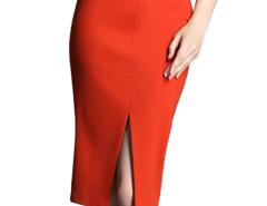 Orange Split Front High Waist Pencil Skirt Choies.com sklep internetowy z odzieżą i modą z Wielkiej Brytanii