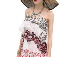 Red Bohemia Floral Embroidery Texture Tulle Cami Dress Choies.com sklep internetowy z odzieżą i modą z Wielkiej Brytanii