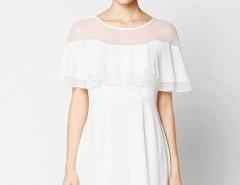 White Sheer Insert Ruffle Top Keyhole Back Layered Dress Choies.com sklep internetowy z odzieżą i modą z Wielkiej Brytanii