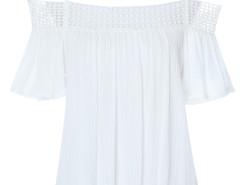 White Spaghetti Strap Off Shoulder Ruffle Short Sleeve Blouse Choies.com sklep internetowy z odzieżą i modą z Wielkiej Brytanii